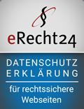 zeigt die Siegel von eRecht24.de